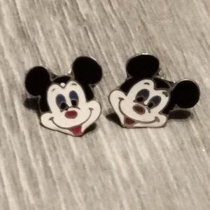 Vintage Mickey enamel sterling silver earrings
